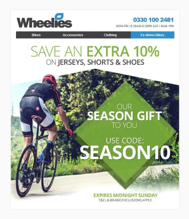 Save an extra 10% on Jerseys, shorts and shoes