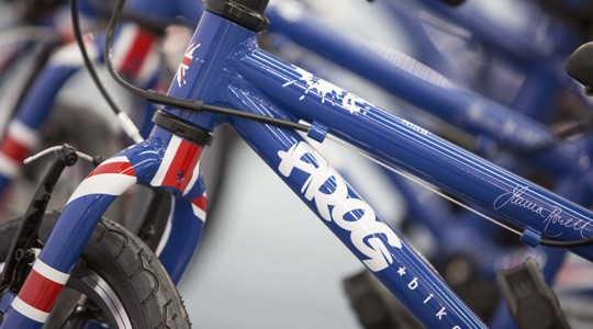 Frog children's bike in blue signed by Joanna Rowsell Shand